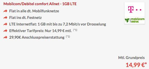 TOP! Telekom Allnet Flat + 1GB LTE für 14,99€monatlich