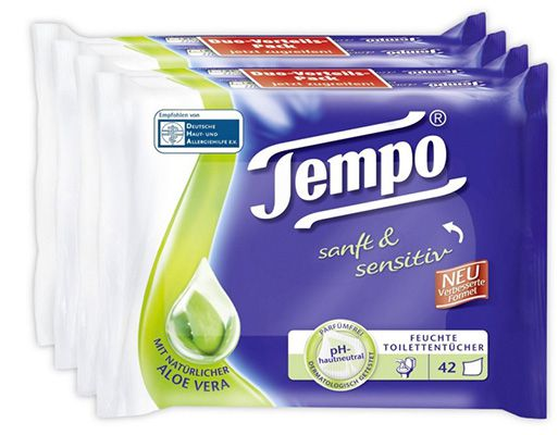 Preisfehler? 168 Tempo feuchte Toilettentücher sanft & sensitiv ab 3,45€ (statt 17€)