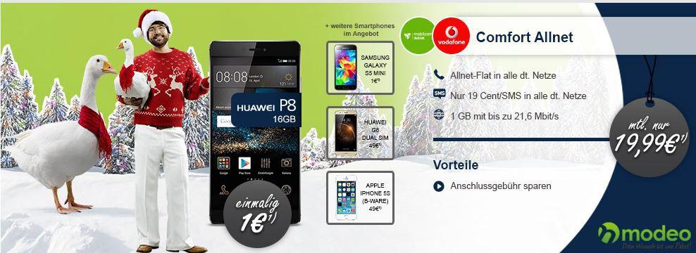 Vodafone Allnet Spar Flat M   Telefonie in alle dt. Netze inkl. 1GB Daten und Smartphones ab 1€ für 19,99€ mtl.
