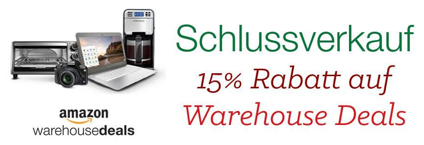 Warehouse Amazon Warehouse Deals jetzt mit 15% Extra Rabatt