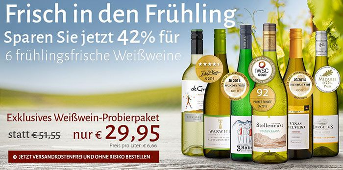 6 prämierte Weißweine für 29,95€ im Probierpaket