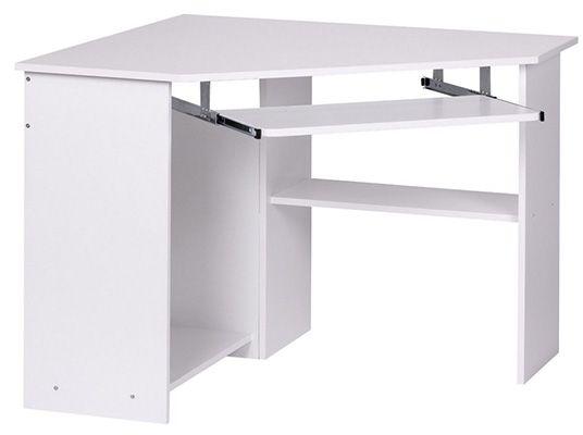 Wohnling Eckschreibtisch Weiß mit Tastaturauszug für 29,90€ (statt 72€)