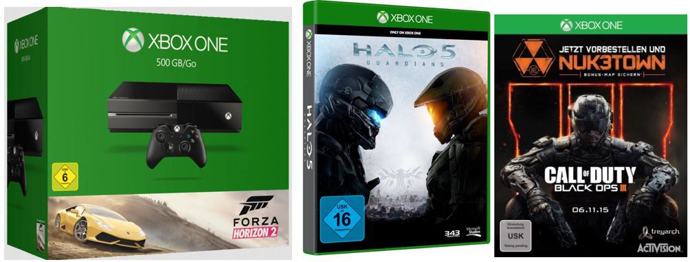 MICROSOFT Xbox One 500GB Forza Horizon 2 Bundle  + Call of Duty: Black Ops III + Halo 5: Guardians für 369€