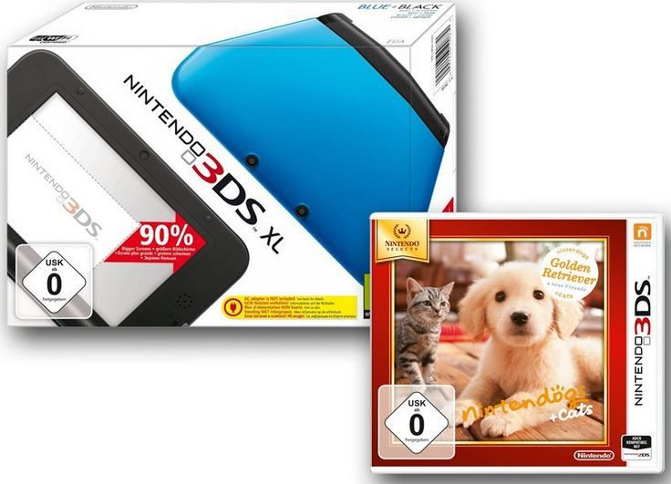 Nintendo 3DS XL + Nintendogs + cats Golden Retriever oder Star Fox 64 3D für 139€