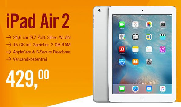 iPad Air 2 16GB WLAN + AppleCare + F Secure Freedome für 429€