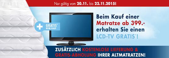 TOP! Beim Kauf einer Matratze ab 399€ + LCD TV gratis dazu + VSKfrei