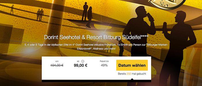 3 4 Tage im 4* Dorint Seehotel Bitburg Resort + Bitburger Erlebniswelt ab 99€ p.P.