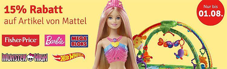mytoys mattel 15% Rabatt auf Mattel Artikel (Fisher Price, Barbie, Hot Wheels % mehr) bei myToys