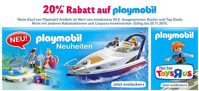 20% Rabatt auf Playmobil bei ToysRUs   z.B. Falkenritterburg ab 60€ (statt 75€)