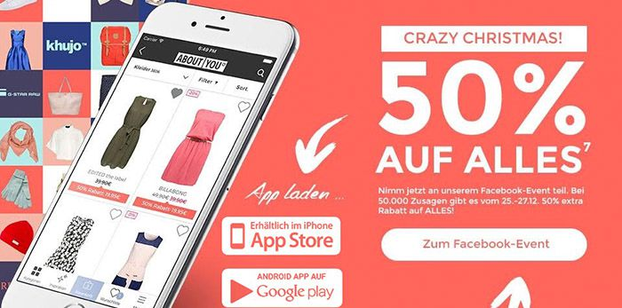 About You 50% Rabatt auf fast ALLES bei About You + VSK frei