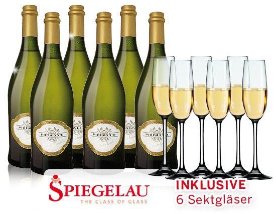 Alberto Prosecco 6 Flaschen Alberto Prosecco + 6 Spiegelau Sektgläser für 35,90€   Top!