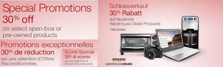 Amazon Gutschein1 Letzter Tag ! Amazon Warehousedeals mit 30% Rabatt zusätzlich auf TVs, Beamer, Schmuck, Laptops etc.
