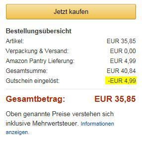 Amazon Gutschrift Amazon Pantry für Primer ab 30€ MBW gibt es einen 15€ Amazon Gutschein