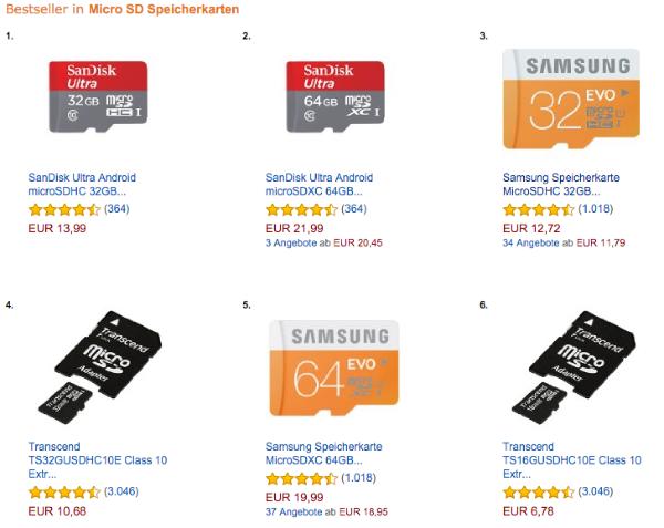 Amazon.de Bestseller Die beste microSD Karte   64 GB Samsung EVO Plus