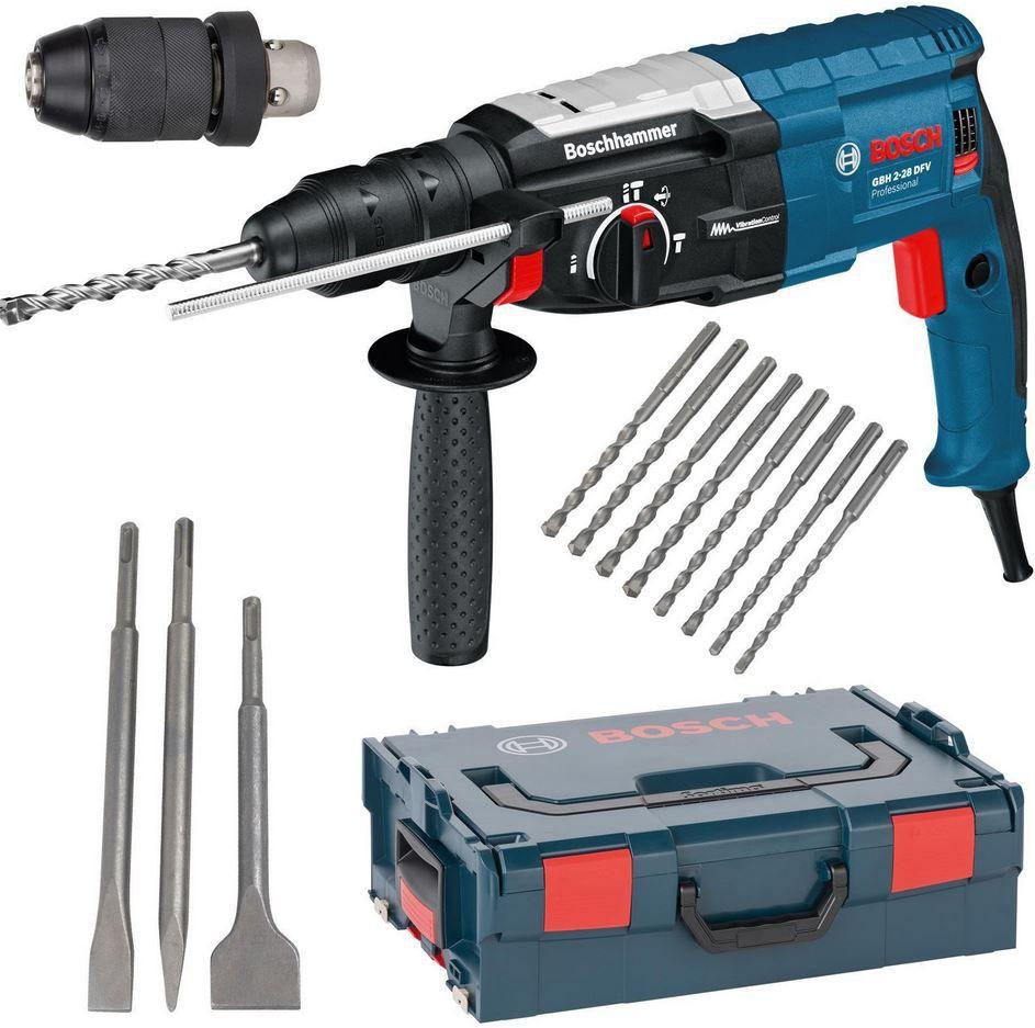 Bosch GBH 2 28 DFV Bohrhammer + L Boxx + Wechselfutter + 3 Meißel + 8 Bohrer alle SDS für 235€