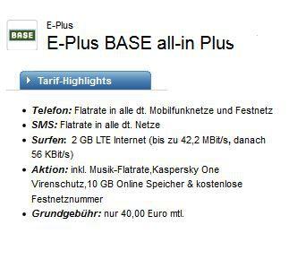 Base All Net Flat + SMS + 2 GB LTE Flat für effektiv 17,29€