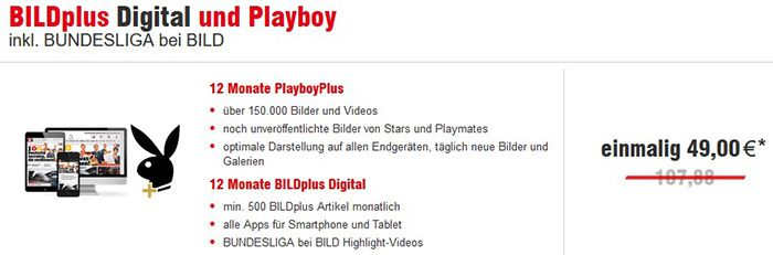 12 Monate BILD Plus digital + Bundesliga + Playboy Plus für 49€ (statt 97€)