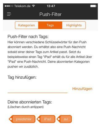 Bildschirmfoto 2015 12 10 um 13.53.35 Info: Push Tags korrekt speichern in der App