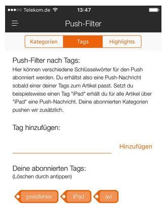 Info: Push Tags korrekt speichern in der App