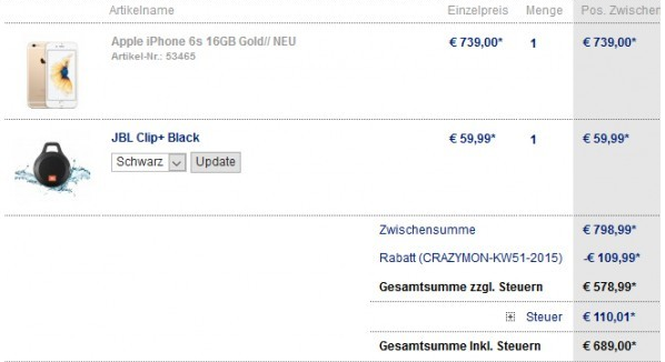 iPhone 6s 16GB + JBL Clip+ für 689€ inkl. Versand zusammen
