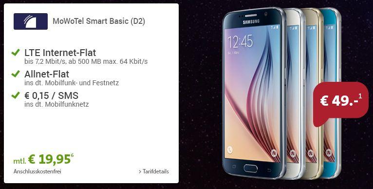 Samsung S6 mit 64GB + Vodafone All Net Flat + 500MB Datenflat für 19,95€ mtl.