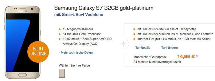 Samsung Galaxy S7 + Vodafone Smart Surf mit 1GB für 18,70€ mtl.   KNALLER! (effektiver Gewinn)
