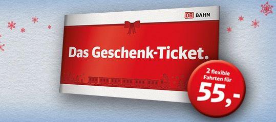 Deutsche Bahn 2 flexible Bahnfahrten ab 55€ als Geschenk Ticket
