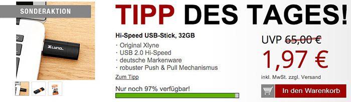 Druckerzubehör xlyne USB 2.0 Stick 32GB für 7,96€ + 2 Gratis Artikel