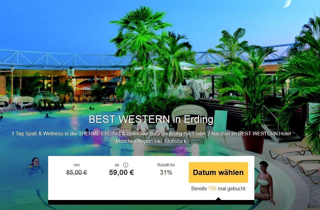 Best Western 4* Hotel + Therme Erding 1   2 Tage p.P. ab 59€