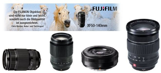 Fuji Objektive Fujifilm Objektive mit 100€ Sofortrabatt bei Amazon