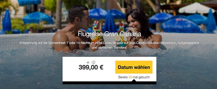 7 oder 14 Nächte Gran Canaria + Flüge und 3* Hotel mit HP ab 399€ p.P.