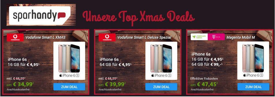 Handy Angebote Sparhandy Xmas Deals: Allnet Flat / Daten Verträge + iPhone 6s oder Samsung S6 ab 19€