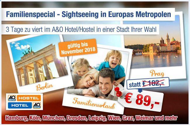 Hotel Gutschein AO A&O Hotelgutschein für 2 Übernachtungen 2 Personen (optional 2 Kinder) nur 89€