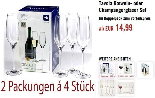 Leonardo Tavola Rotwein  oder Champangergläser Set 8 Gläser für 14,99€