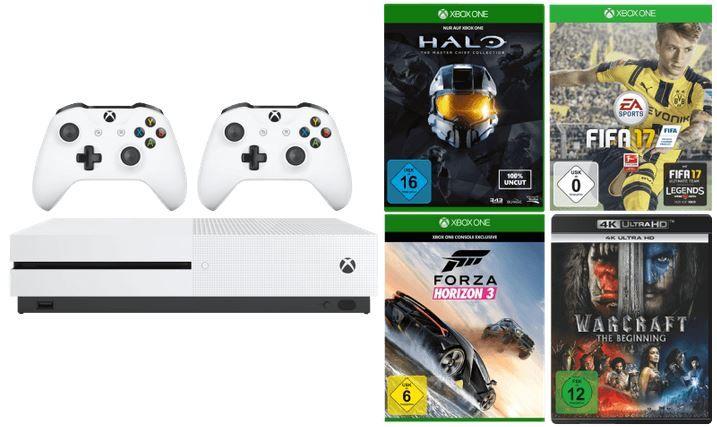 MICROSOFT Xbox One S Sparket XBox One S mit 500GB + 2. Controller + 3 Spiele + 4K Film Warcraft   The Beginning für nur 319€