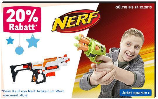 Nerf Aktion Nerf Artikel mit 20% Rabatt ab 40€ @ToysRus