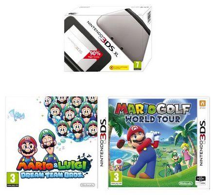 Nintendo 3DS XL + 2 Mario Spiele für 141,82€ (statt 238€)