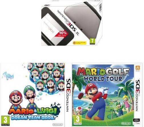 Nintendo 3DS XL + Mario Golf: World Tour + Mario & Luigi Dream Team Bros. für 138,98€