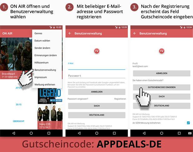Promocode Anleitung [Android] TV Programm ON AIR   APP für immer werbefrei durch Gutschein   Gratis