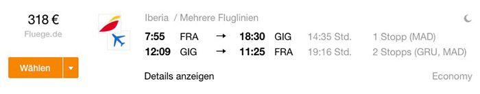 Von Frankfurt nach Rio und zurück für 318€