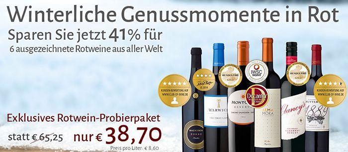 6 Rotweine im Probierpaket für 38,70€
