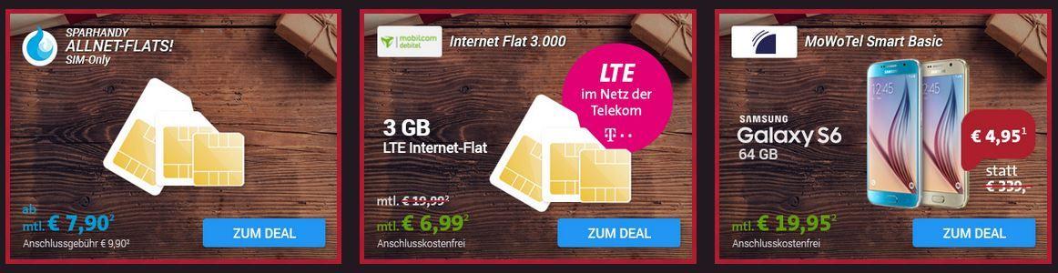 Sim Only Angebot Sparhandy Xmas Deals: Allnet Flat / Daten Verträge + iPhone 6s oder Samsung S6 ab 19€