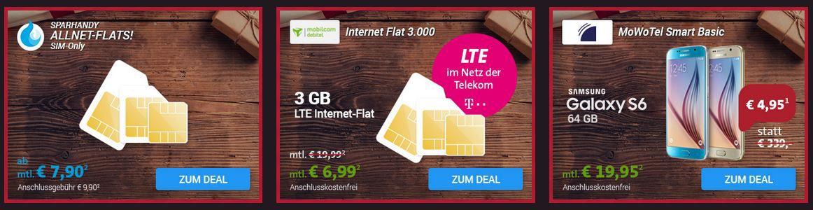 Sparhandy Xmas Deals: Allnet Flat / Daten Verträge + iPhone 6s oder Samsung S6 ab 19€