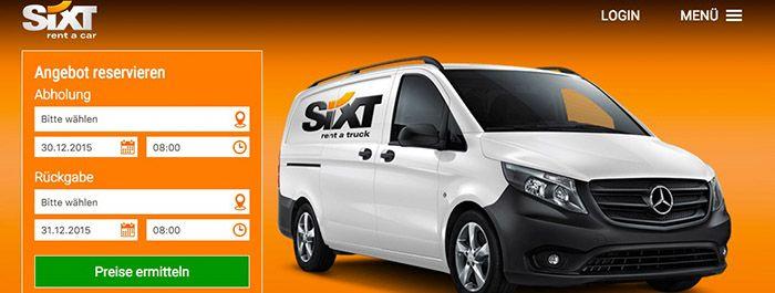 Sixt Transporter für nur 2€ pro Stunde mieten   max. 4 Stunden!