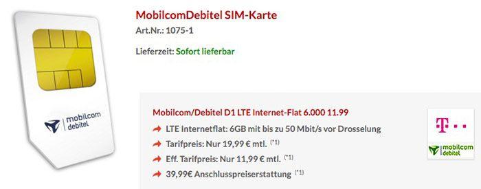 Telekom LTE Flat Telekom LTE Internet Flat 6GB für 11,99€ monatlich