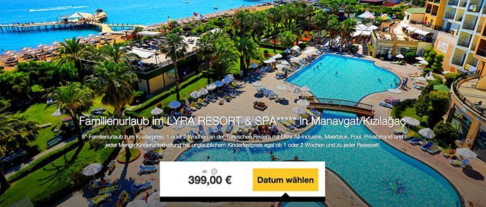 Türkische Reviera 7 oder 14 Tage Türkische Reviera mit Flug im 5* Hotel All inc. ab 399€ p.P.