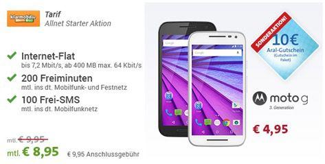 Vodafone Allnet Starter1 Vodafone Allnet Starter (200 Min., 100 SMS, 400MB) + Moto G 3. Gen für 9,57€ mtl.