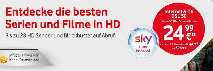 Vodafone DSL + Sky Welt & Premiumpaket + Vodafone TV nur 25€/Monat