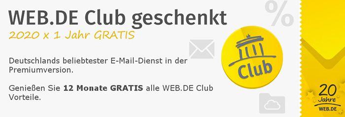 Kostenlos! 1 Jahr WEB.de Club Mitgliedschaft gratis
