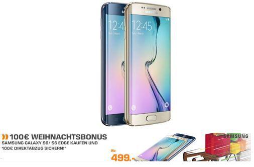 Weihnachtsbonus Samsung Galaxy S6 mit 100€ Sofort Rabatt   bei SATURN